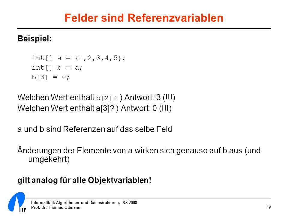 Informatik II: Algorithmen und Datenstrukturen, SS 2008 Prof. Dr. Thomas Ottmann49 Felder sind Referenzvariablen Beispiel: int[] a = {1,2,3,4,5}; int[