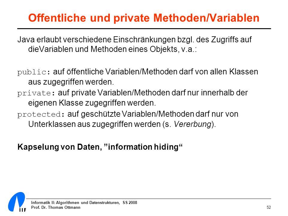 Informatik II: Algorithmen und Datenstrukturen, SS 2008 Prof. Dr. Thomas Ottmann52 Offentliche und private Methoden/Variablen Java erlaubt verschieden