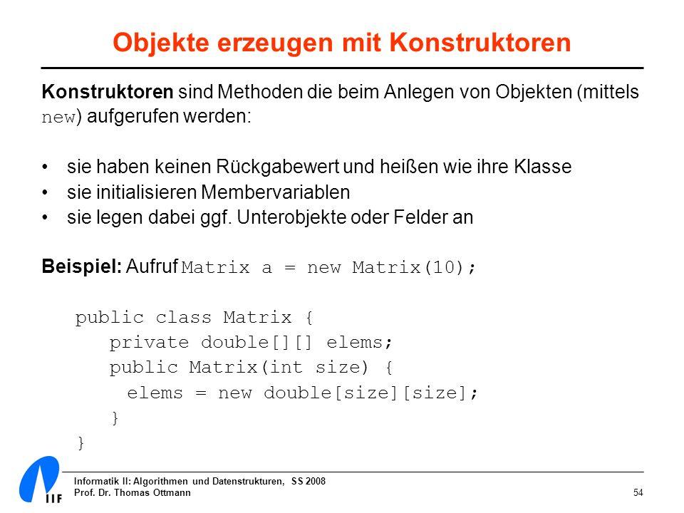 Informatik II: Algorithmen und Datenstrukturen, SS 2008 Prof. Dr. Thomas Ottmann54 Objekte erzeugen mit Konstruktoren Konstruktoren sind Methoden die