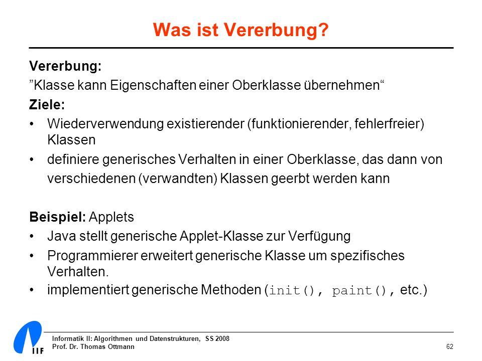 Informatik II: Algorithmen und Datenstrukturen, SS 2008 Prof. Dr. Thomas Ottmann62 Was ist Vererbung? Vererbung: Klasse kann Eigenschaften einer Oberk
