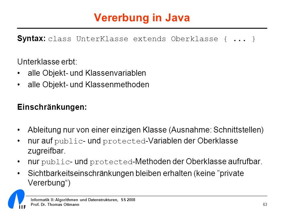 Informatik II: Algorithmen und Datenstrukturen, SS 2008 Prof. Dr. Thomas Ottmann63 Vererbung in Java Syntax: class UnterKlasse extends Oberklasse {...