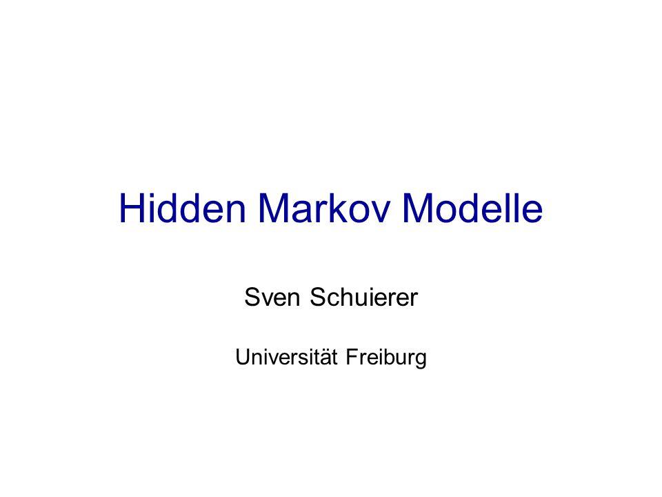 Hidden Markov Model (HMM) Weg Π = (π 1,…, π L ) ist eine Abfolge von Zuständen π i im Modell M Wahrscheinlichkeit für die Erzeugung der Sequenz X aus Weg Π : P(X,Π) = a π 0,π 1 ·Π e π i (x i ) ·a π i,π i+1 π 0 = begin, π L+1 =end Gesucht: Weg Π, der X erzeugt hat.