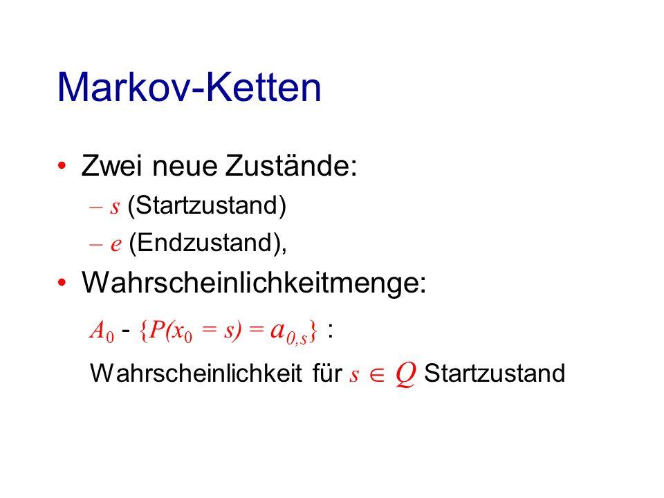 Hidden Markov Modell (HMM) Definition Ein Hidden Markov Model (HMM) ist Tupel M = (Σ,Q,Θ) mit: Σ - Alphabet Q - Endliche Zustandsmenge Zustand q gibt Symbol a aus Σ mit Wahrscheinlichkeit e q ( a ) aus.