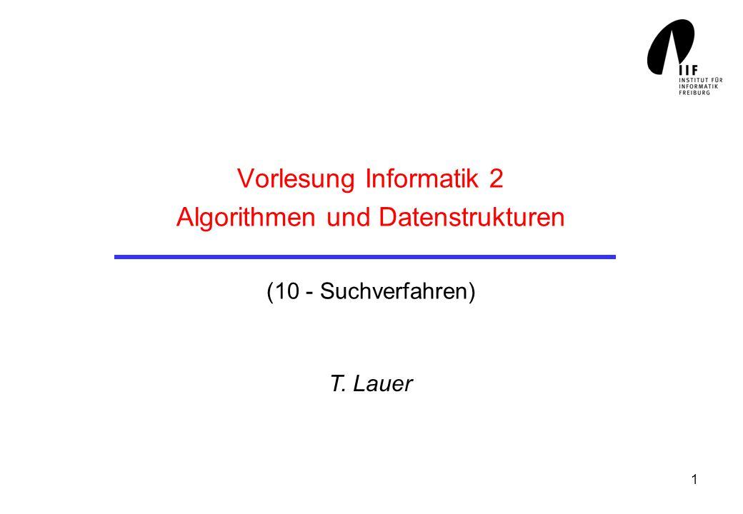 1 Vorlesung Informatik 2 Algorithmen und Datenstrukturen (10 - Suchverfahren) T. Lauer