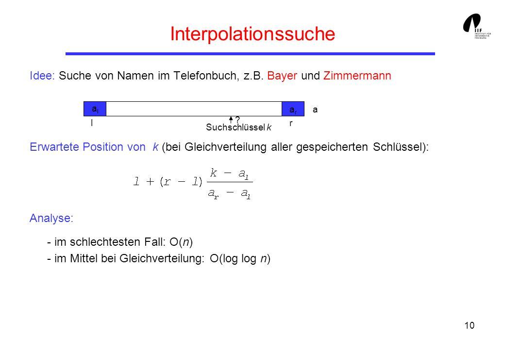 10 Interpolationssuche Idee: Suche von Namen im Telefonbuch, z.B. Bayer und Zimmermann Erwartete Position von k (bei Gleichverteilung aller gespeicher