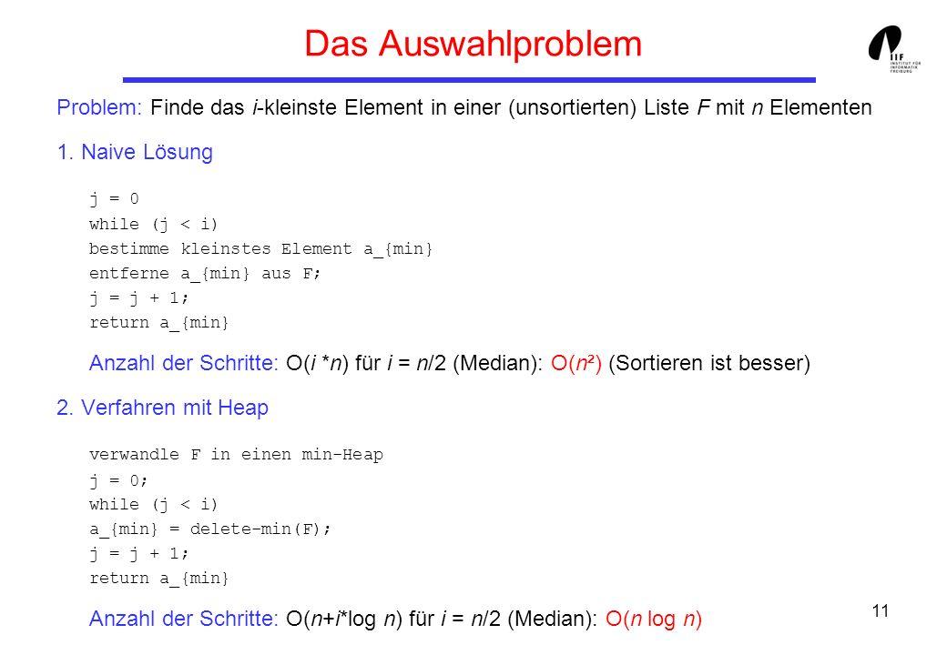 11 Das Auswahlproblem Problem: Finde das i-kleinste Element in einer (unsortierten) Liste F mit n Elementen 1. Naive Lösung j = 0 while (j < i) bestim
