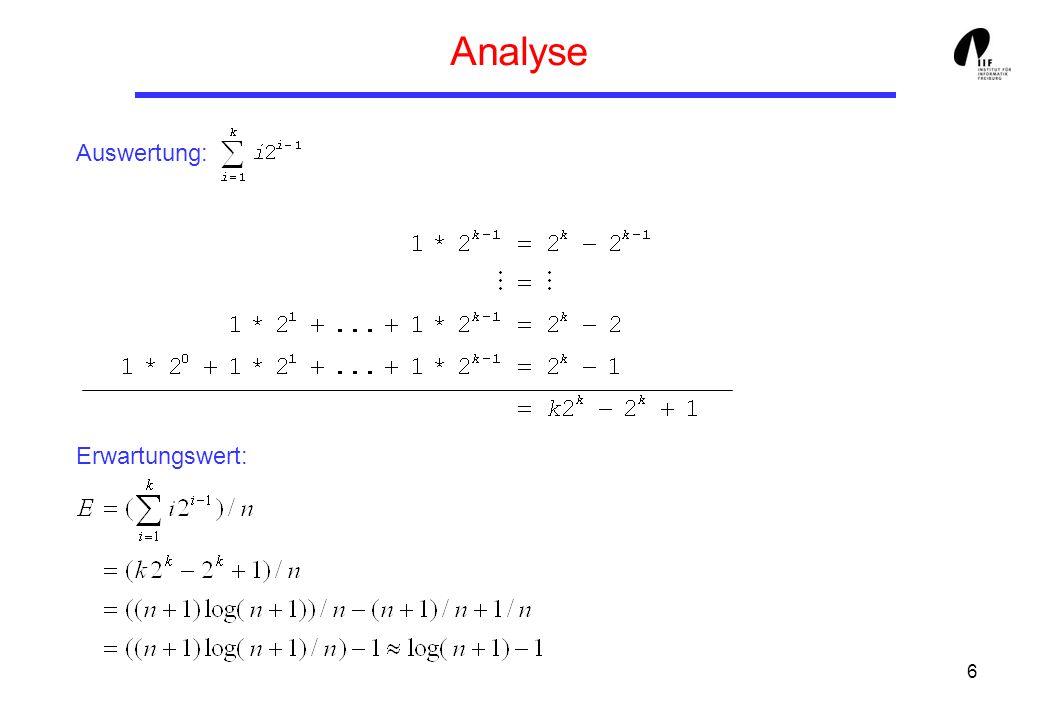 6 Analyse Auswertung: Erwartungswert: