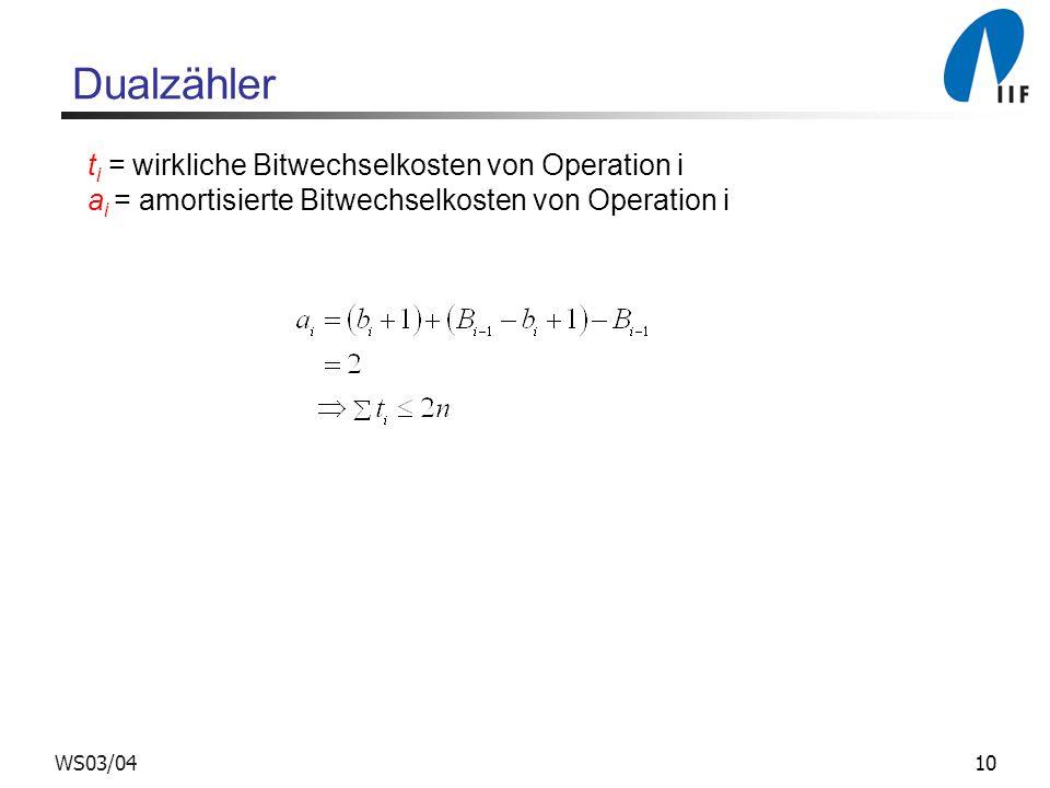 10WS03/04 Dualzähler t i = wirkliche Bitwechselkosten von Operation i a i = amortisierte Bitwechselkosten von Operation i