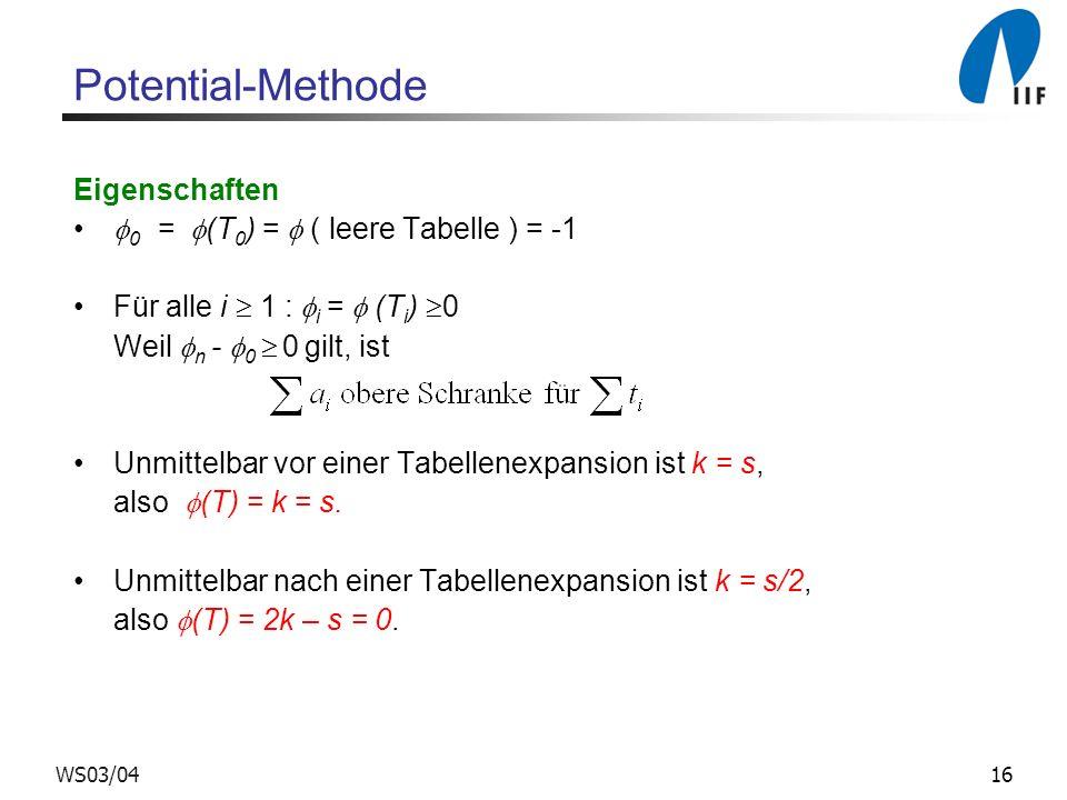 16WS03/04 Potential-Methode Eigenschaften 0 = (T 0 ) = ( leere Tabelle ) = -1 Für alle i 1 : i = (T i ) 0 Weil n - 0 0 gilt, ist Unmittelbar vor einer Tabellenexpansion ist k = s, also (T) = k = s.