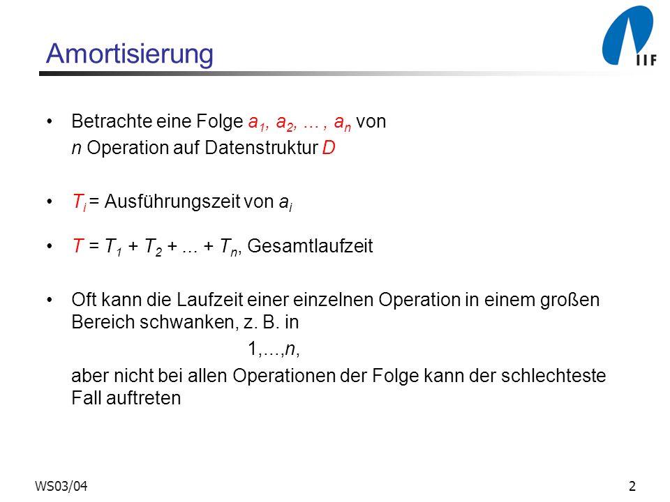 23WS03/04 Analyse Einfügen und Entfernen Unmittelbar nach einer Expansion oder Kontraktion der Tabelle: s = 2k, also (T) = 0