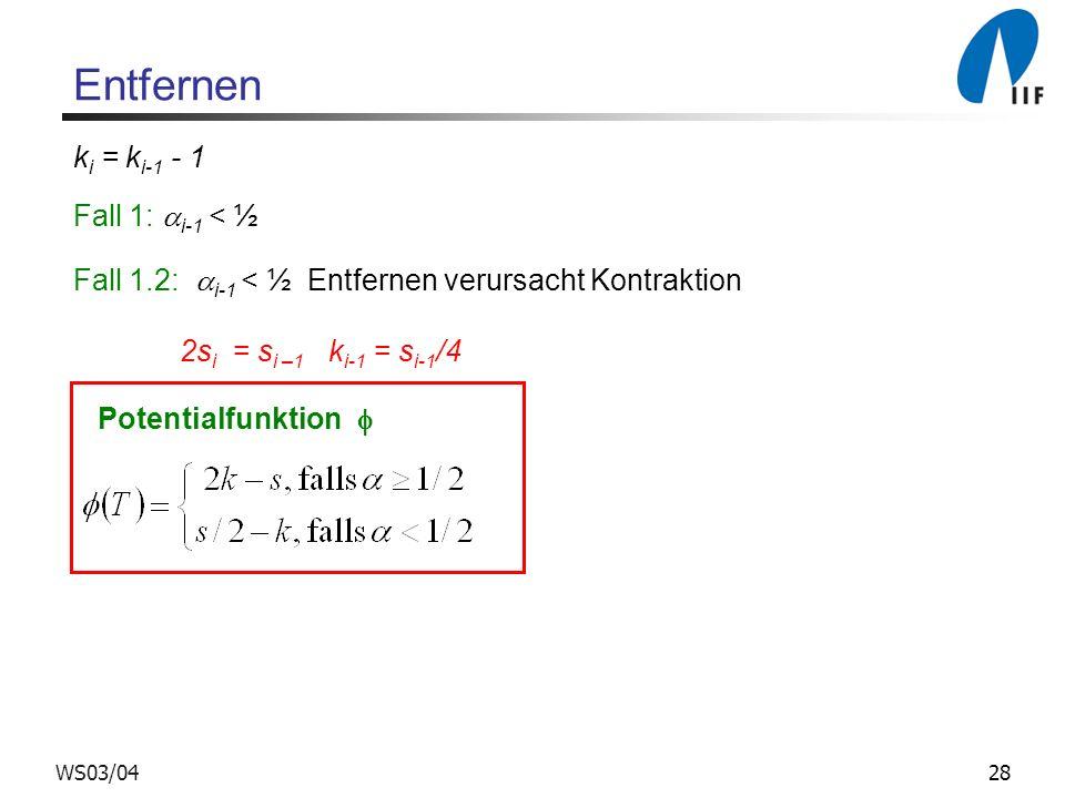 28WS03/04 Entfernen Fall 1.2: i-1 < ½ Entfernen verursacht Kontraktion 2s i = s i –1 k i-1 = s i-1 /4 k i = k i-1 - 1 Fall 1: i-1 < ½ Potentialfunktion