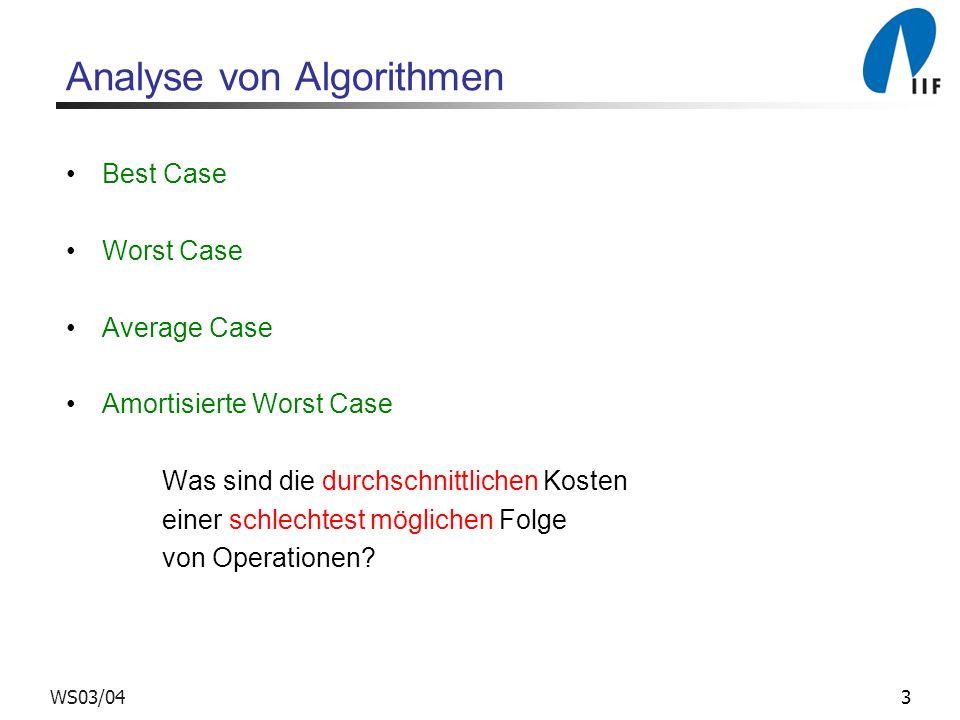 3WS03/04 Analyse von Algorithmen Best Case Worst Case Average Case Amortisierte Worst Case Was sind die durchschnittlichen Kosten einer schlechtest möglichen Folge von Operationen?