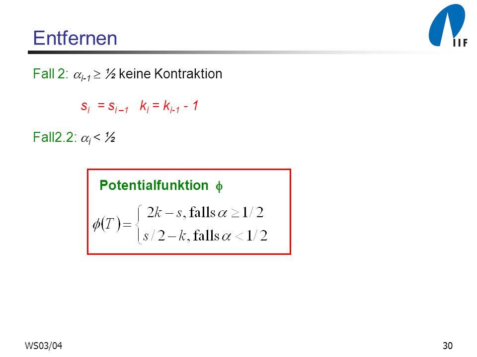 30WS03/04 Entfernen Fall 2: i-1 ½ keine Kontraktion s i = s i –1 k i = k i-1 - 1 Fall2.2: i < ½ Potentialfunktion