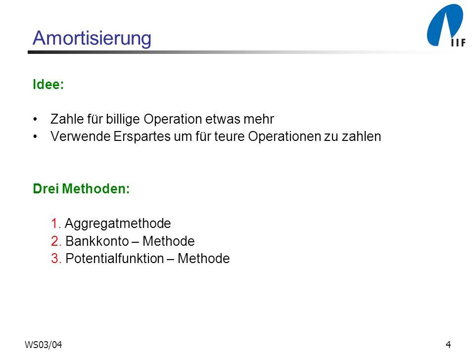 4WS03/04 Amortisierung Idee: Zahle für billige Operation etwas mehr Verwende Erspartes um für teure Operationen zu zahlen Drei Methoden: 1.