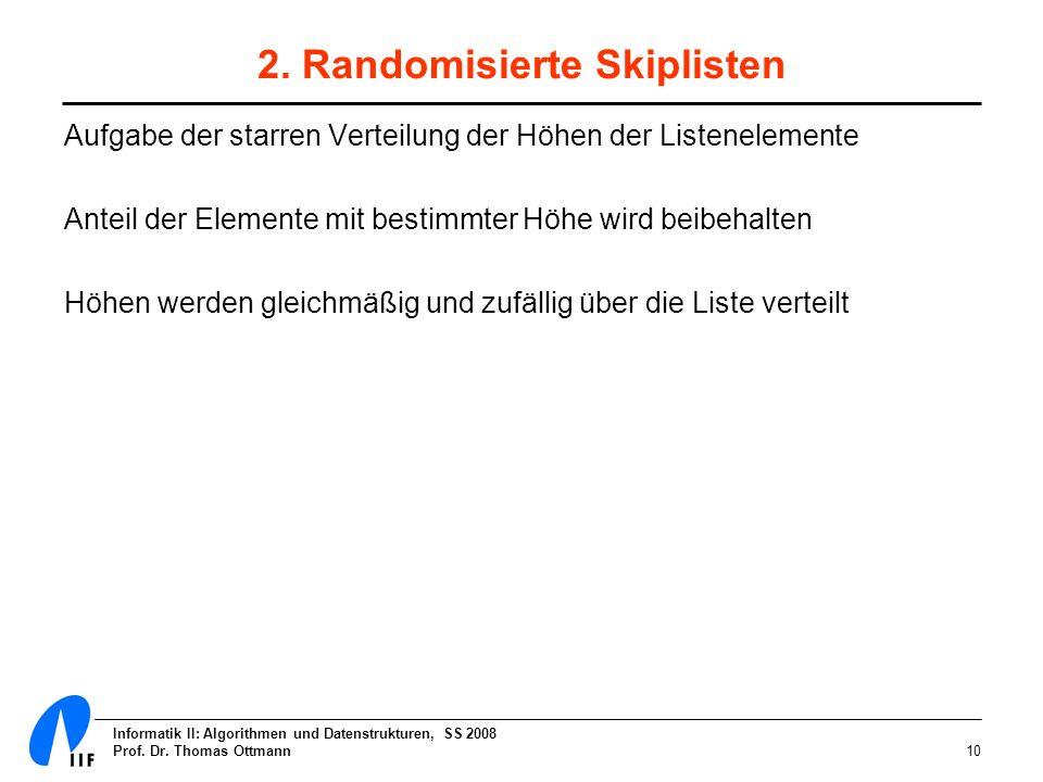 Informatik II: Algorithmen und Datenstrukturen, SS 2008 Prof. Dr. Thomas Ottmann10 2. Randomisierte Skiplisten Aufgabe der starren Verteilung der Höhe