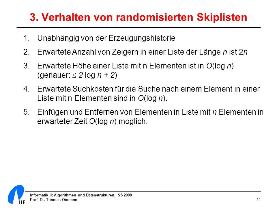 Informatik II: Algorithmen und Datenstrukturen, SS 2008 Prof. Dr. Thomas Ottmann15 3. Verhalten von randomisierten Skiplisten 1.Unabhängig von der Erz