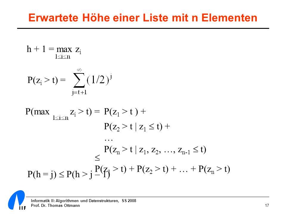 Informatik II: Algorithmen und Datenstrukturen, SS 2008 Prof. Dr. Thomas Ottmann17 Erwartete Höhe einer Liste mit n Elementen h + 1 = max z i P(z i >