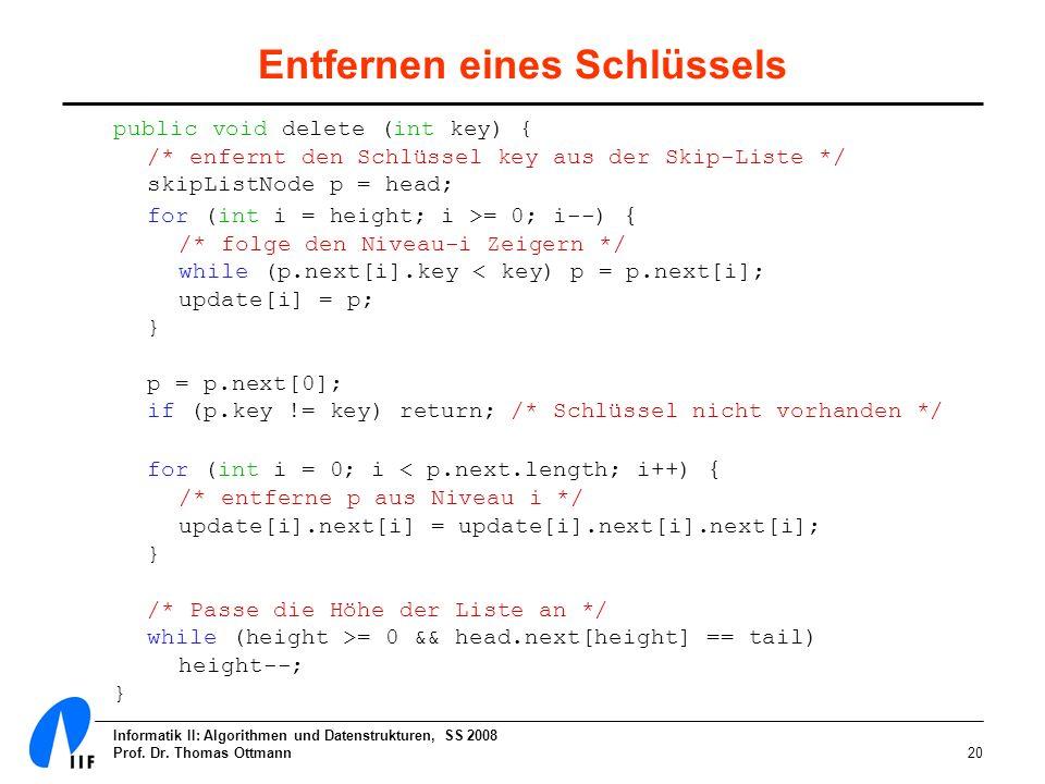 Informatik II: Algorithmen und Datenstrukturen, SS 2008 Prof. Dr. Thomas Ottmann20 Entfernen eines Schlüssels public void delete (int key) { /* enfern
