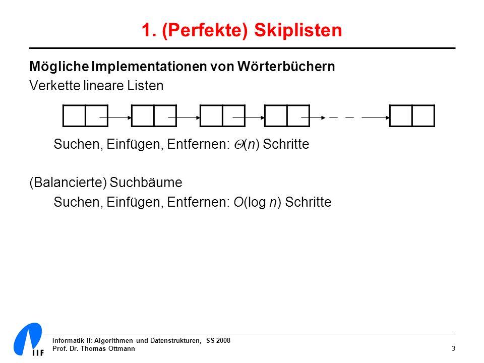Informatik II: Algorithmen und Datenstrukturen, SS 2008 Prof. Dr. Thomas Ottmann3 1. (Perfekte) Skiplisten Mögliche Implementationen von Wörterbüchern