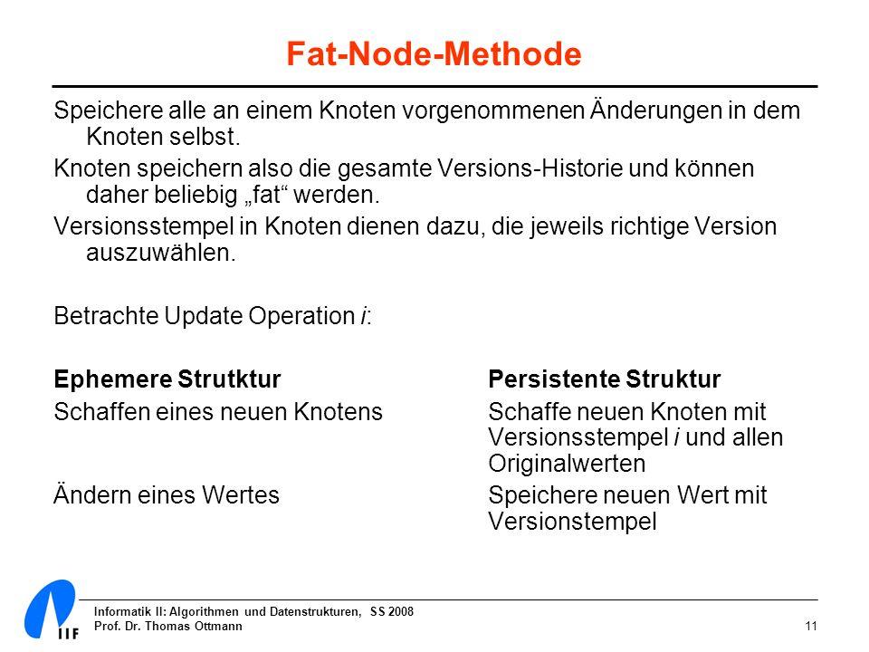 Informatik II: Algorithmen und Datenstrukturen, SS 2008 Prof. Dr. Thomas Ottmann11 Fat-Node-Methode Speichere alle an einem Knoten vorgenommenen Änder