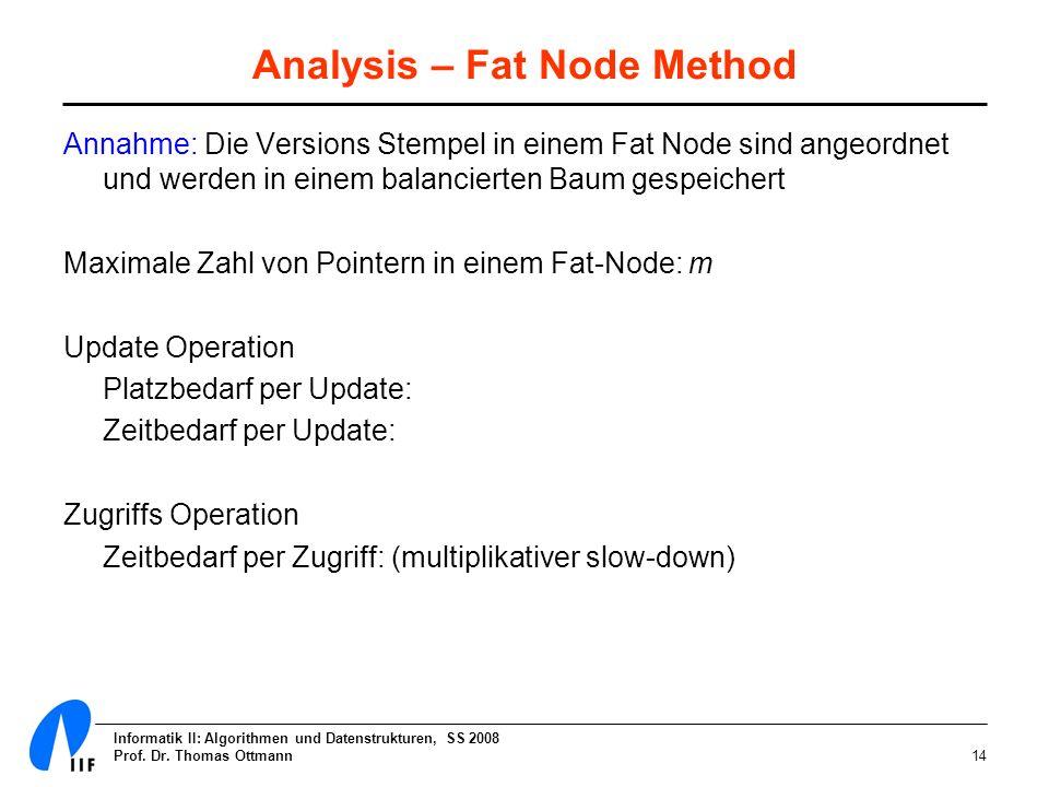 Informatik II: Algorithmen und Datenstrukturen, SS 2008 Prof. Dr. Thomas Ottmann14 Analysis – Fat Node Method Annahme: Die Versions Stempel in einem F