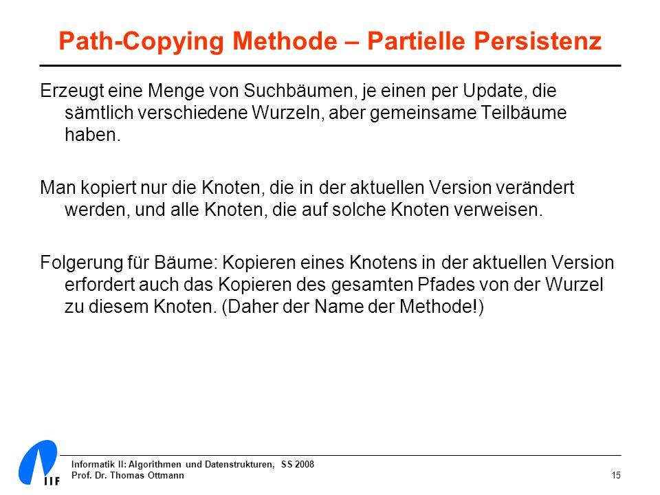 Informatik II: Algorithmen und Datenstrukturen, SS 2008 Prof. Dr. Thomas Ottmann15 Path-Copying Methode – Partielle Persistenz Erzeugt eine Menge von