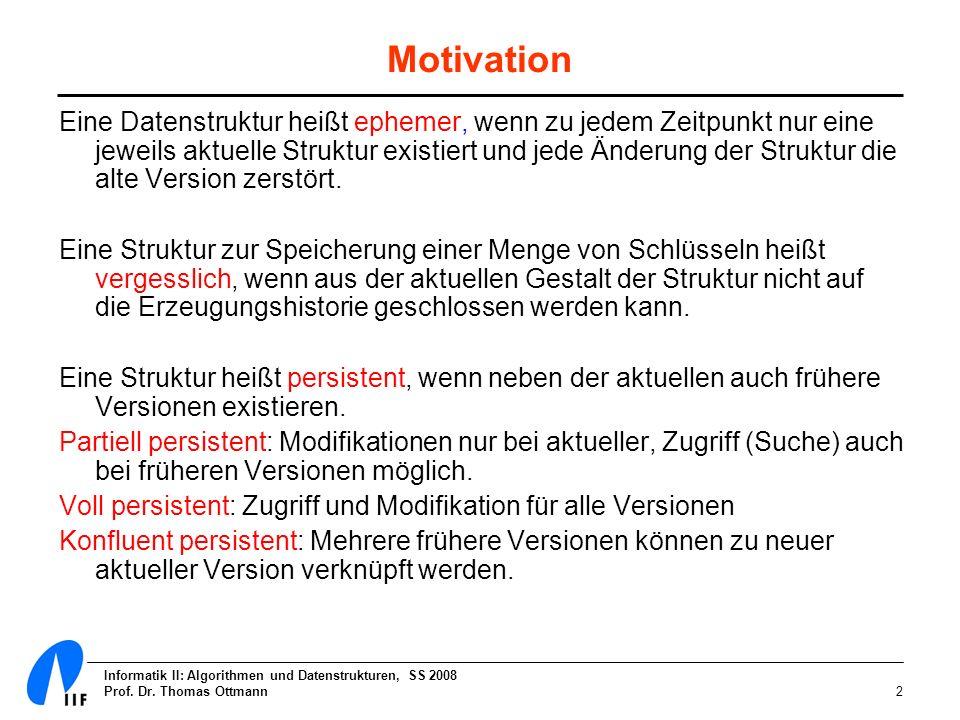 Informatik II: Algorithmen und Datenstrukturen, SS 2008 Prof. Dr. Thomas Ottmann2 Motivation Eine Datenstruktur heißt ephemer, wenn zu jedem Zeitpunkt