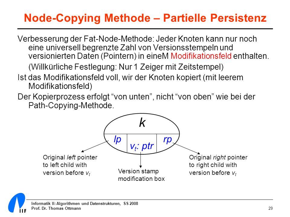 Informatik II: Algorithmen und Datenstrukturen, SS 2008 Prof. Dr. Thomas Ottmann29 Node-Copying Methode – Partielle Persistenz Verbesserung der Fat-No