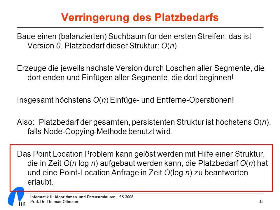Informatik II: Algorithmen und Datenstrukturen, SS 2008 Prof. Dr. Thomas Ottmann45 Verringerung des Platzbedarfs Baue einen (balanzierten) Suchbaum fü