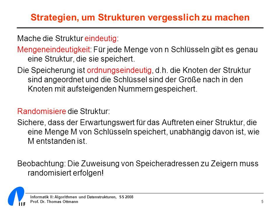 Informatik II: Algorithmen und Datenstrukturen, SS 2008 Prof. Dr. Thomas Ottmann5 Strategien, um Strukturen vergesslich zu machen Mache die Struktur e