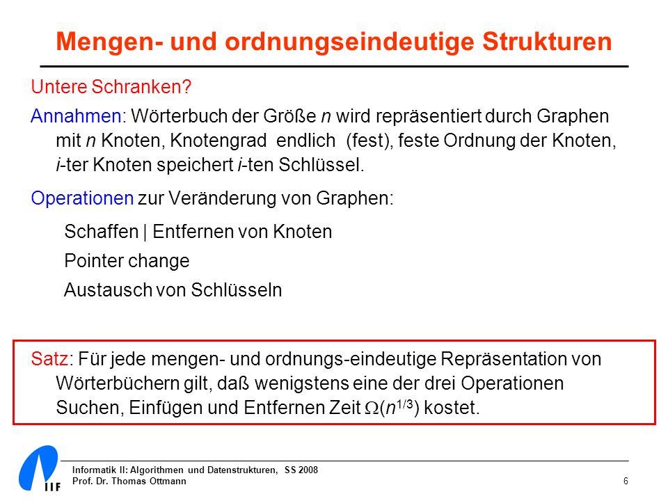 Informatik II: Algorithmen und Datenstrukturen, SS 2008 Prof. Dr. Thomas Ottmann6 Mengen- und ordnungseindeutige Strukturen Untere Schranken? Annahmen