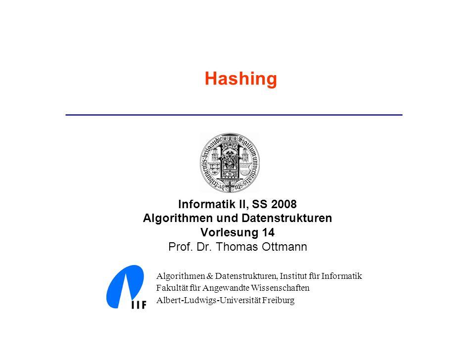Informatik II, SS 2008 Algorithmen und Datenstrukturen Vorlesung 14 Prof. Dr. Thomas Ottmann Algorithmen & Datenstrukturen, Institut für Informatik Fa