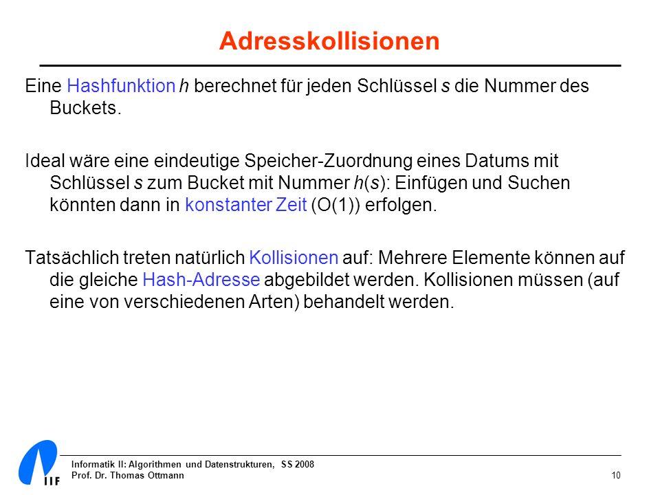 Informatik II: Algorithmen und Datenstrukturen, SS 2008 Prof. Dr. Thomas Ottmann10 Adresskollisionen Eine Hashfunktion h berechnet für jeden Schlüssel