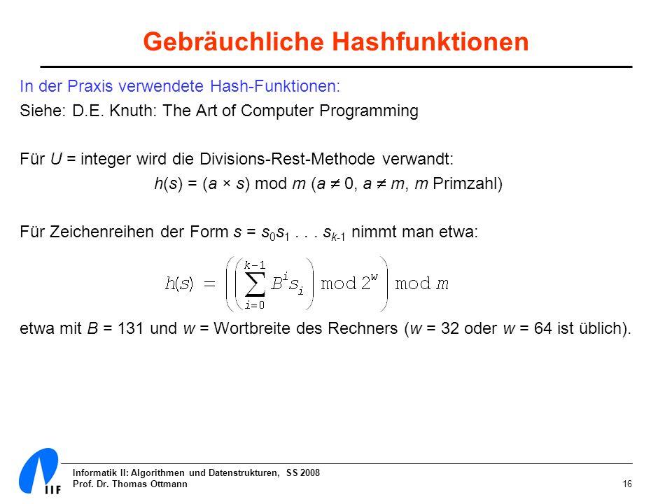 Informatik II: Algorithmen und Datenstrukturen, SS 2008 Prof. Dr. Thomas Ottmann16 Gebräuchliche Hashfunktionen In der Praxis verwendete Hash-Funktion