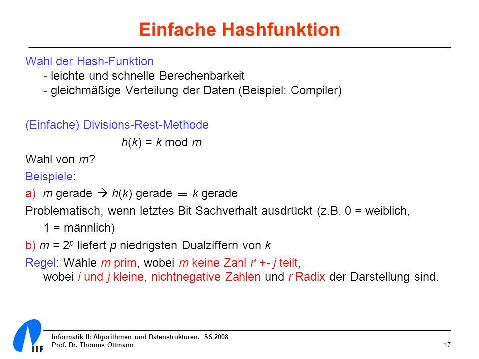 Informatik II: Algorithmen und Datenstrukturen, SS 2008 Prof. Dr. Thomas Ottmann17 Einfache Hashfunktion Wahl der Hash-Funktion - leichte und schnelle