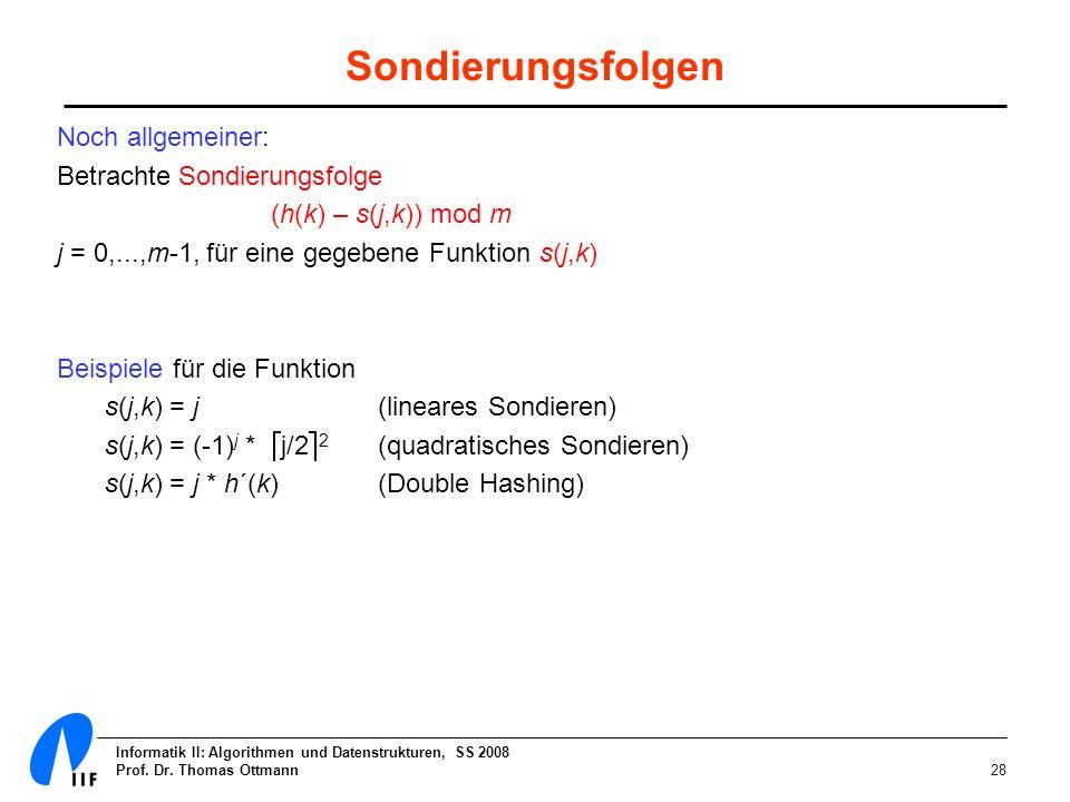 Informatik II: Algorithmen und Datenstrukturen, SS 2008 Prof. Dr. Thomas Ottmann28 Sondierungsfolgen Noch allgemeiner: Betrachte Sondierungsfolge (h(k