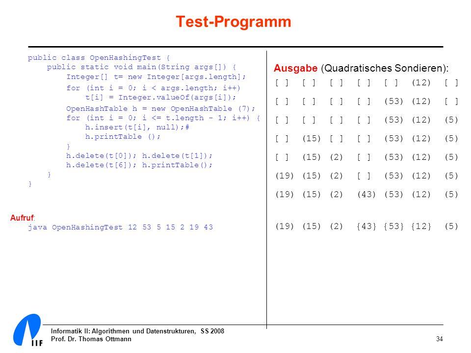 Informatik II: Algorithmen und Datenstrukturen, SS 2008 Prof. Dr. Thomas Ottmann34 Test-Programm public class OpenHashingTest { public static void mai