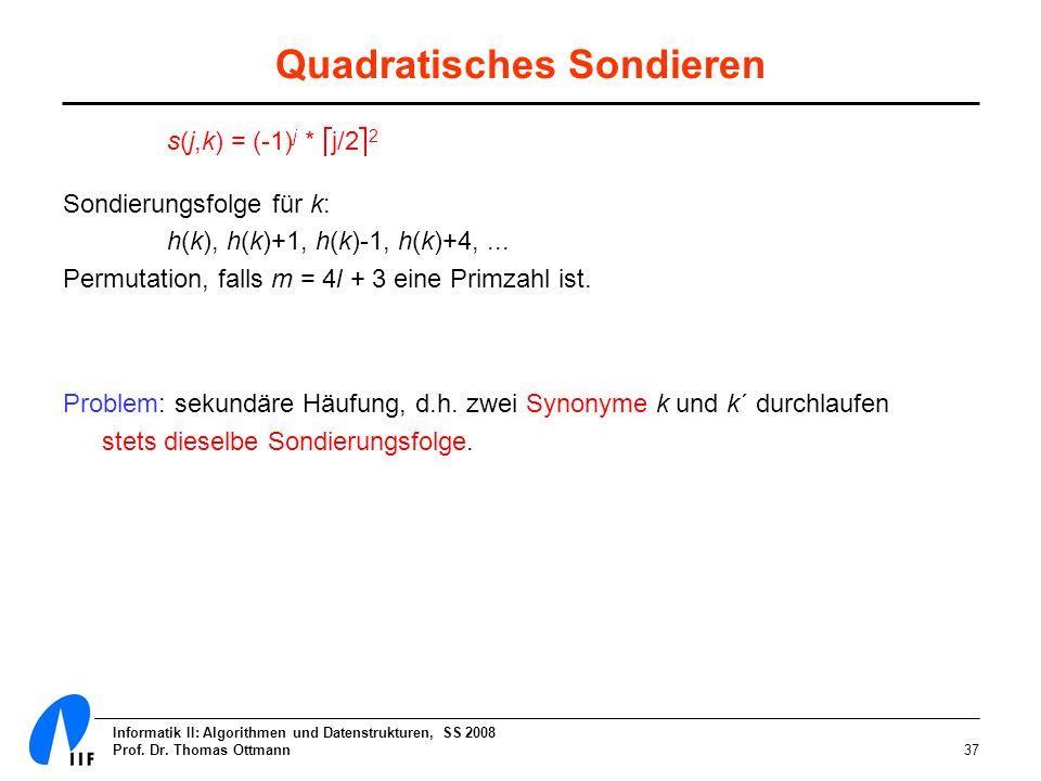 Informatik II: Algorithmen und Datenstrukturen, SS 2008 Prof. Dr. Thomas Ottmann37 Quadratisches Sondieren s(j,k) = (-1) j * j/2 2 Sondierungsfolge fü