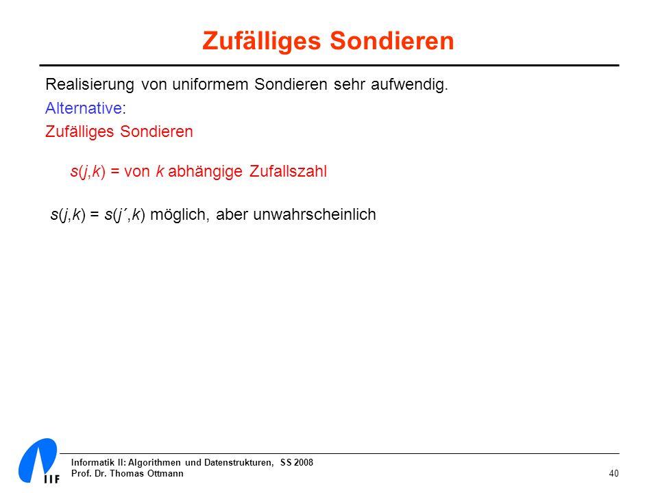 Informatik II: Algorithmen und Datenstrukturen, SS 2008 Prof. Dr. Thomas Ottmann40 Zufälliges Sondieren Realisierung von uniformem Sondieren sehr aufw