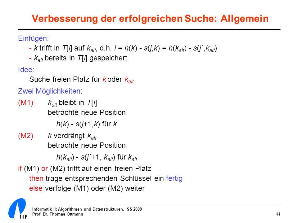 Informatik II: Algorithmen und Datenstrukturen, SS 2008 Prof. Dr. Thomas Ottmann44 Verbesserung der erfolgreichen Suche: Allgemein Einfügen: - k triff