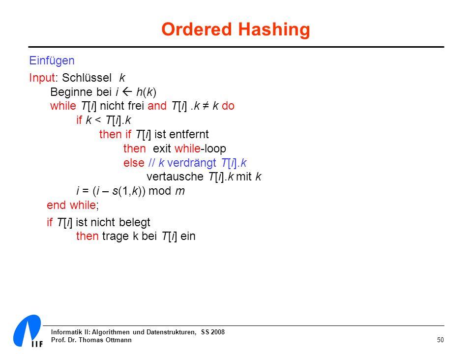 Informatik II: Algorithmen und Datenstrukturen, SS 2008 Prof. Dr. Thomas Ottmann50 Ordered Hashing Einfügen Input: Schlüssel k Beginne bei i h(k) whil