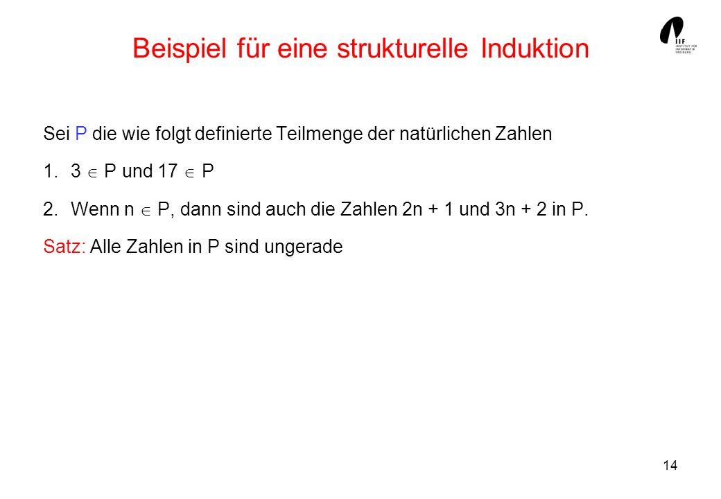 14 Beispiel für eine strukturelle Induktion Sei P die wie folgt definierte Teilmenge der natürlichen Zahlen 1.3 P und 17 P 2.Wenn n P, dann sind auch die Zahlen 2n + 1 und 3n + 2 in P.