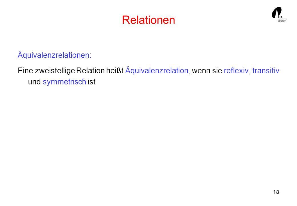 18 Relationen Äquivalenzrelationen: Eine zweistellige Relation heißt Äquivalenzrelation, wenn sie reflexiv, transitiv und symmetrisch ist