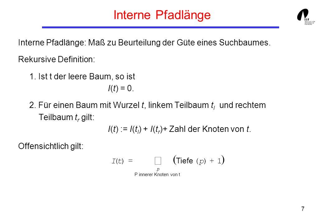 7 Interne Pfadlänge Interne Pfadlänge: Maß zu Beurteilung der Güte eines Suchbaumes. Rekursive Definition: 1. Ist t der leere Baum, so ist I(t) = 0. 2