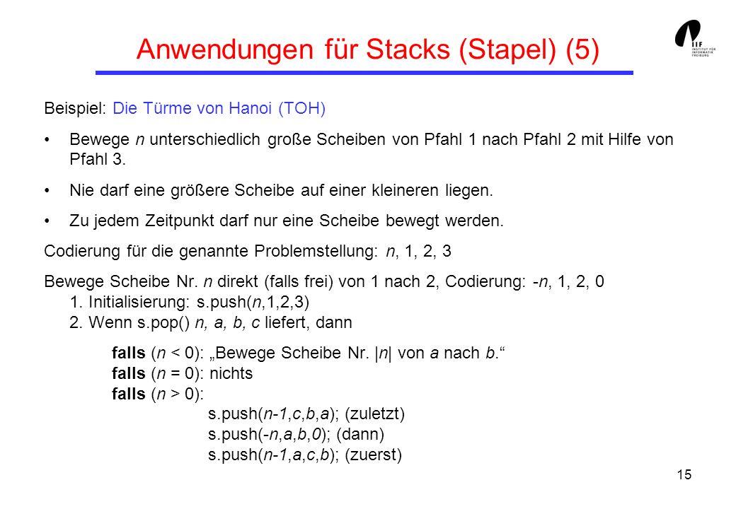15 Anwendungen für Stacks (Stapel) (5) Beispiel: Die Türme von Hanoi (TOH) Bewege n unterschiedlich große Scheiben von Pfahl 1 nach Pfahl 2 mit Hilfe