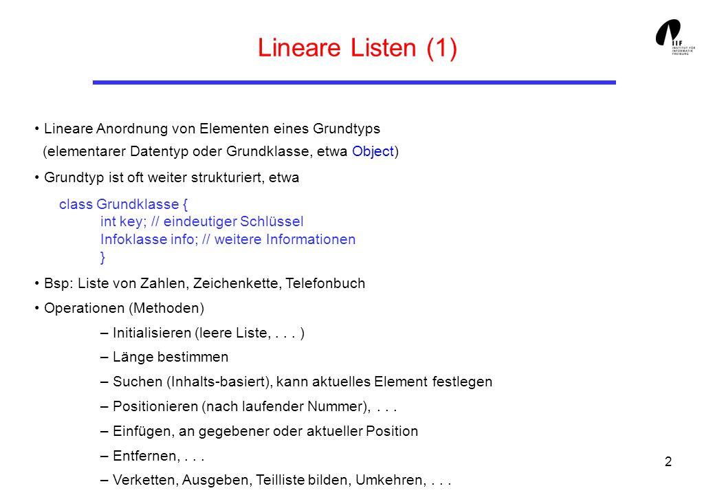 3 Implementierungen für Lineare Listen (1) Mit Hilfe von Arrays: Eigenschaften dieser Lösung: - Maximale Anzahl von Elementen vorgegeben (Länge des Arrays) Abhilfe: Dynamisierung - Schlechte Speicherplatzausnutzung für kurze Listen - Teure Verschiebeoperationen beim Einfügen/Entfernen von Elementen + Direkter Zugriff auf feste Positionen