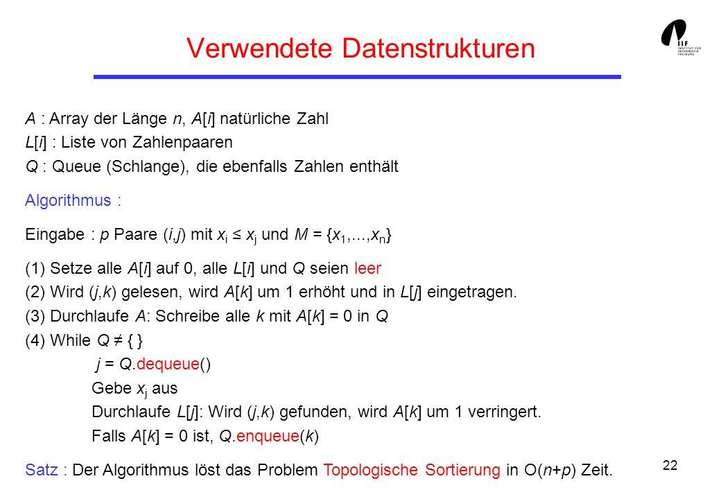22 Verwendete Datenstrukturen A : Array der Länge n, A[i] natürliche Zahl L[i] : Liste von Zahlenpaaren Q : Queue (Schlange), die ebenfalls Zahlen ent
