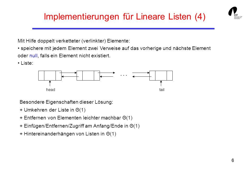 17 Bsp.: Die Türme von Hanoi (2) class TohStack { // der Stack fuer TOH ArrNode Head; TohStack (){ // Konstruktor Head = null; } public boolean empty (){ // Test ob leer return Head == null; } public void push (int a, int b, int c, int d){ int [] arr = { a, b, c, d }; Head = new ArrNode (arr, Head); } public int [] pop (){ ArrNode h = Head; Head = Head.getNext(); return h.getContent (); } } // TohStack