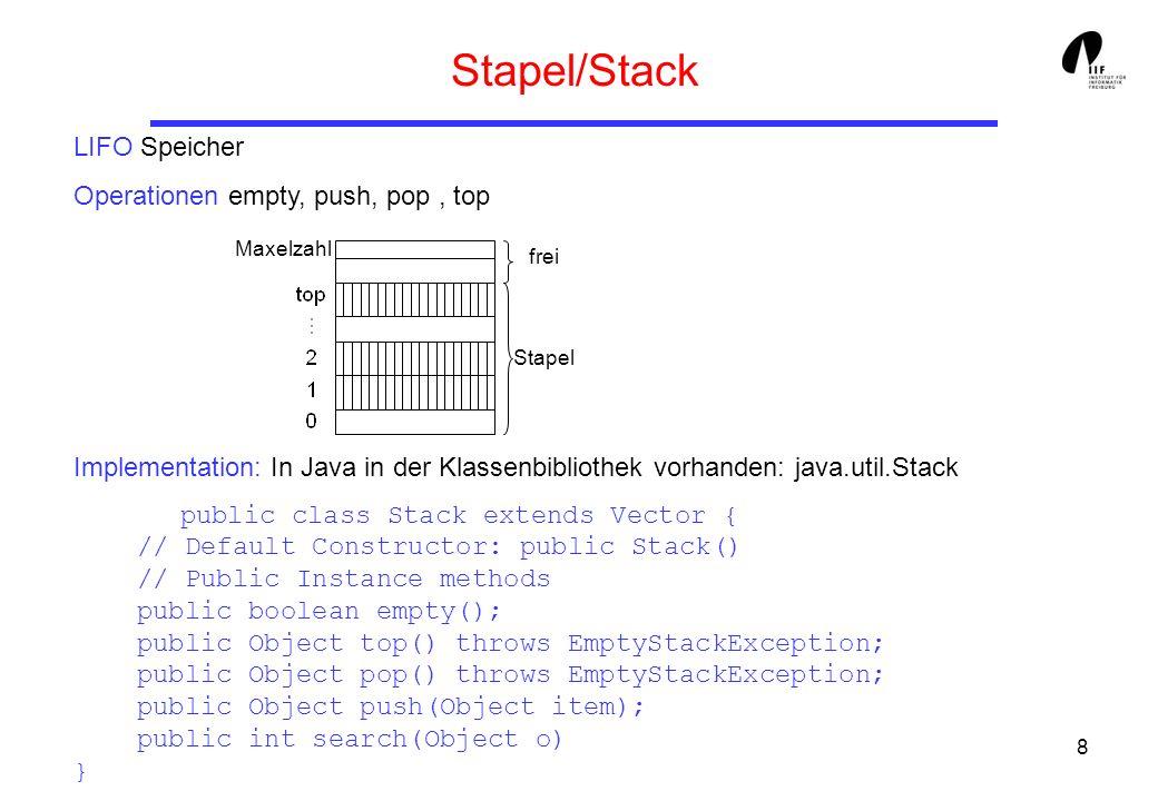 19 Schlange/Queue FIFO Speicher: empty, enqueue, dequeue class Queue { Object element[]; int lastOp, tail, head, size; static final int deque = 1; static final int enque = 0; Queue(int sz) { size = sz; head = 0; tail = size-1; lastOp = deque; element = new Object[sz]; } public boolean empty(){ return head==(tail+ 1)%size;} public void enqueue(Object elem) throws Exception...
