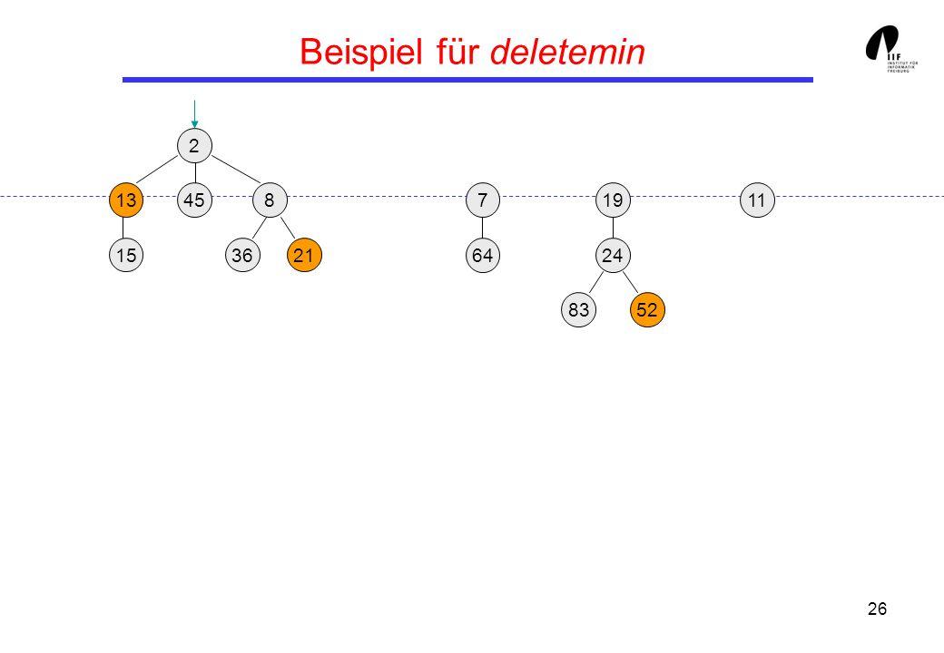 26 Beispiel für deletemin 2 1913458 3621 24 15 8352 117 64